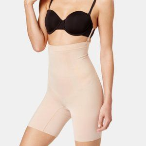 Spanx OnCore High-Waisted Mid-Thigh Shorts in Nude